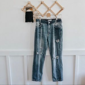 FP | High-Rise Distressed Straight Leg Jeans